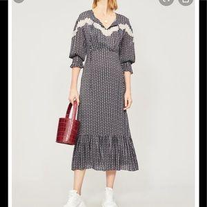 SANDRO Marceau Lace-Inset Floral Midi Dress